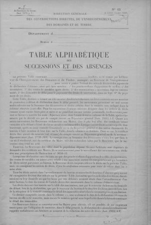 Tables des successions et absences (3Q19153)
