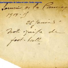 "Zoom ""Foot-ball et archives"", verso photographie �quipe 1915 (12 NUM 071/28)"