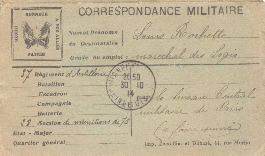 Correspondance militaire de Louis Rochette, carte en circulation le 30 octobre 1914. Collection Rochette